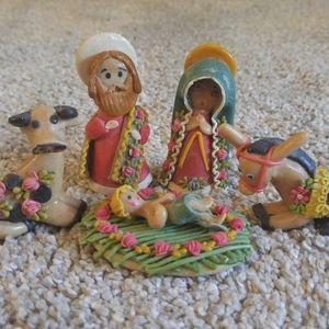 Small Handmade Clay Nativity Set w/ 5 Pieces